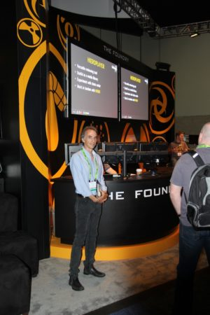 03 - Award-winning visual effects Hollywood veteran Eric Durst standing in front of The Foundry booth. Architosh interviewed Eric Durst several years ago. (courtesy Akiko Ashley, All Rights Reserved.)