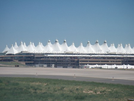 03 - The Denver International Airport in Denver, Colorado, was designed with inspiration from the range of the mountains in the Colorado Rocky Mountains, visible in the distance from downtown and suburban Denver.