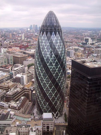 14 - The Gherkin in the UK by Foster and Associates, Architects. ( Wikipedia Commons GFDL, 2007