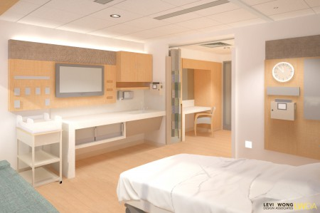 01 - A postpartum room, looking at the foot wall. This image is from ArchiCAD model rendered in Maxon's CINEMA 4D.