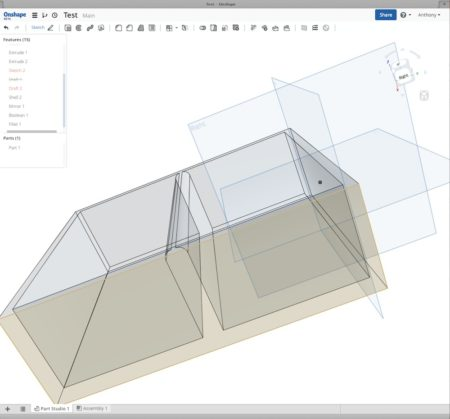 01 - Here is an image of the OnShape cloud/web based CAD environment. It took this author five minutes to quickly model this box with a divider and explore some of the tools in OnShape.