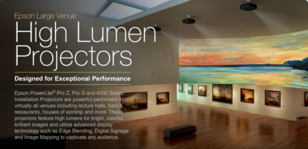 01 - Epson high lumen Projectors enable industry leading performance such as Curved Edge Blending, Portrait Projection, 360 Degree Installation and HDBaseT Connectivity