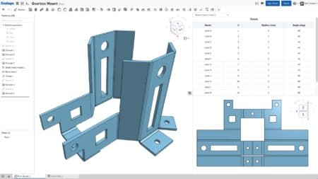 02 - Another view of Onshape with its new Sheet Metal Design Tools.